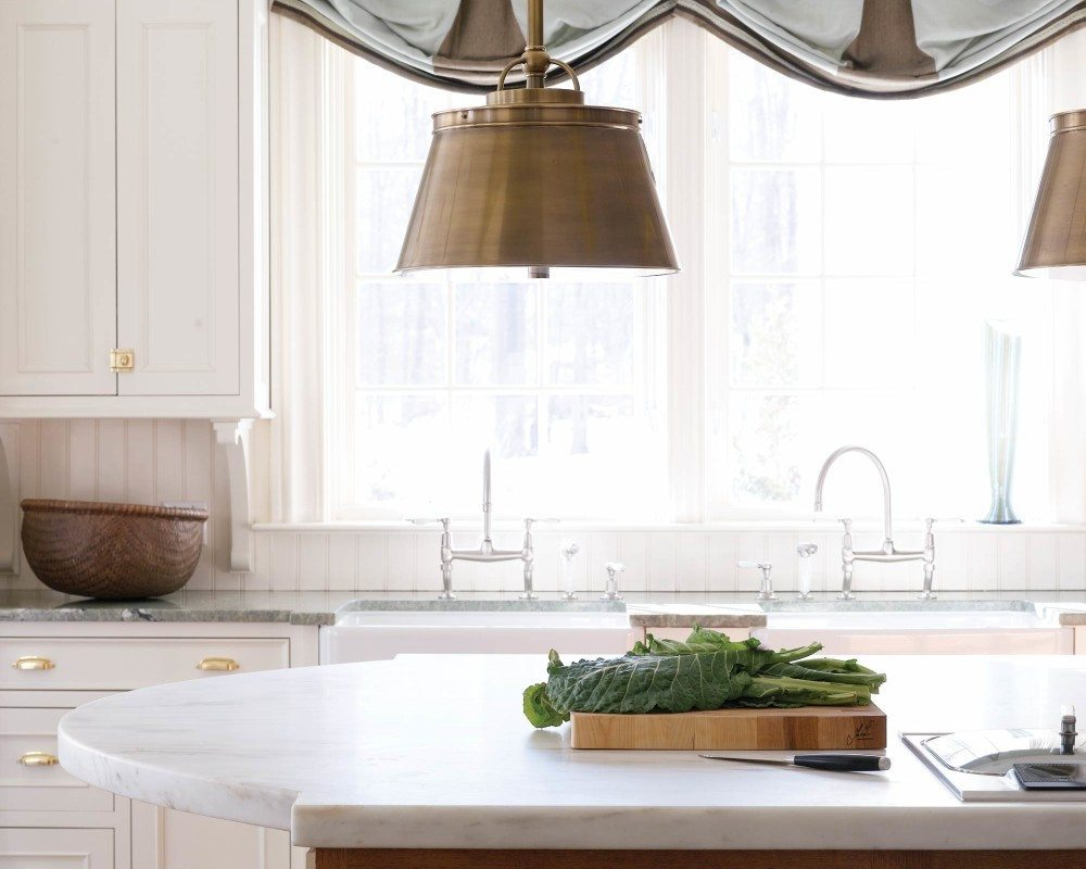 galleries new england home magazine two inch thick marble from danby vermont tops the kitchen island