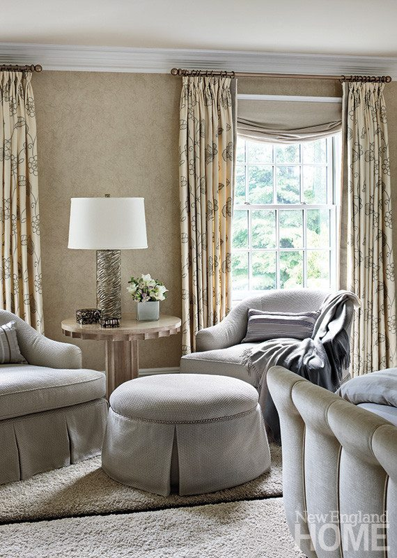 Peaceful fabrics and provocative silhouettes in the master bedroom make for an adults-only escape.