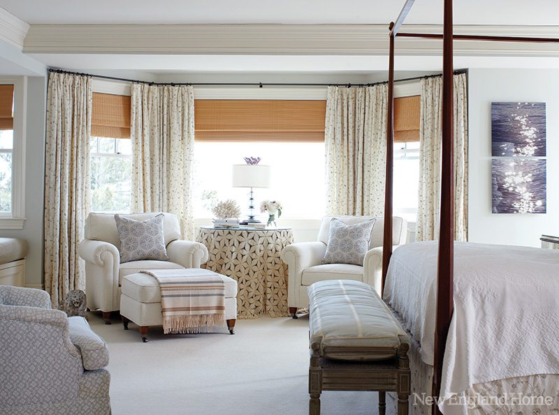 A pleasing mix of pillows and throws in the master suite ensures lasting coziness in the master bedroom.