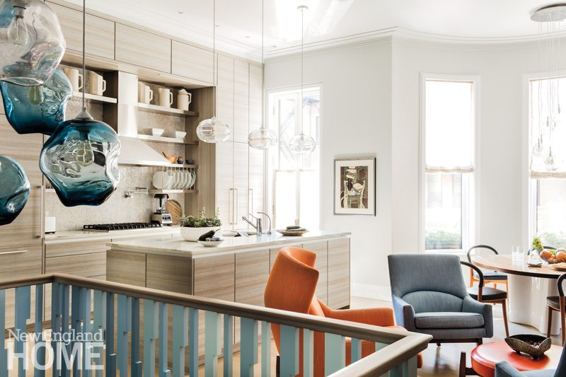 Contemporary Boston Townhouse Kitchen and Seating Area