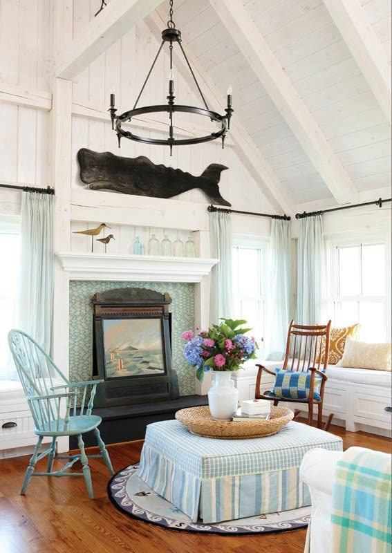 Lyman Perry Scott Hutton Entry Living Room with whale carving