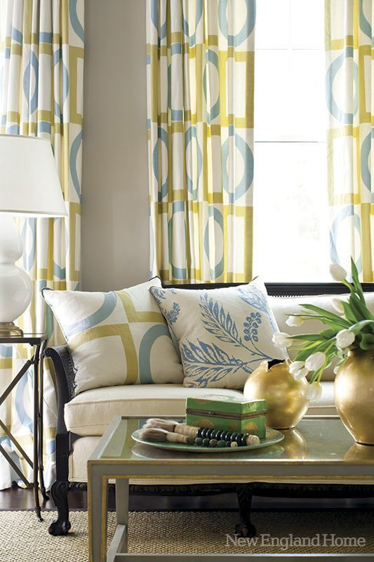 Spring hues of turquoise and green add to the room's elegantly playful feel.