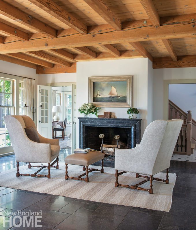 Louis XIII Wing Chairs And A Leather Upholstered Ottoman Help Create A  Comfortable Fireside Oasis In The Great Room. Sustainable Cape Cod ... Part 84