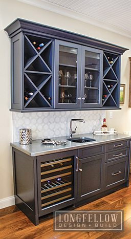 The Wet Bar Utilizes New Materials And Finishes Such As A Cold Cast Zinc Countertop With Gl Under Mount Sink