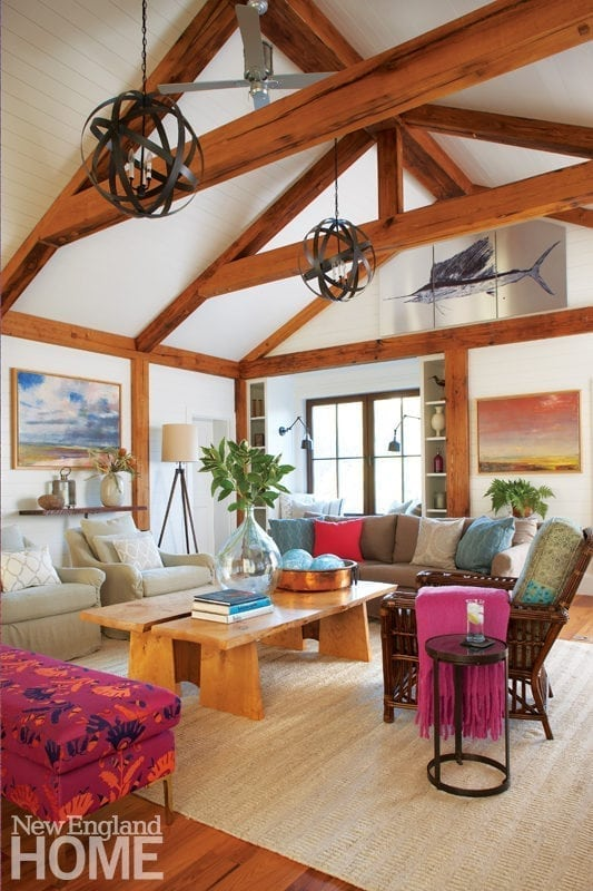 Comfortable living room with exposed beams