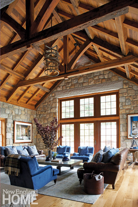 Great room with beams and antique oak ceiling