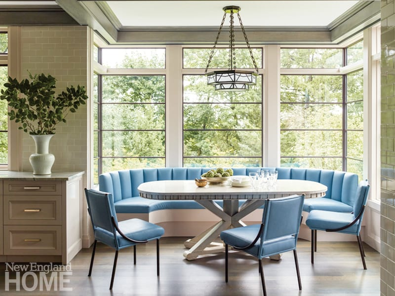 Light blue banquette