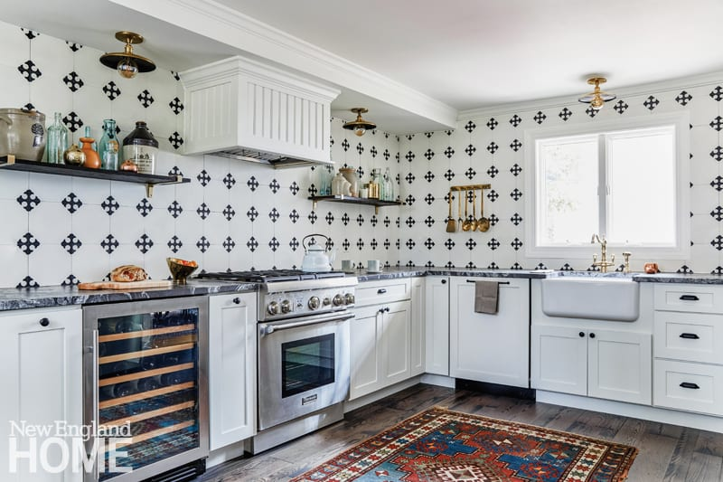 kitchen, graphic cement tiles, Frohmiller Construction, Shaker cabinets, Brazilian granite