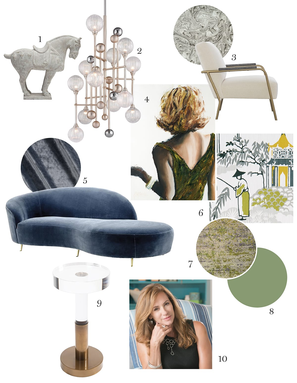 1. Rufus horse sculpture, Made Goods 2. ­Majorette chandelier, Corbett Lighting 3. Levi chair, CR Lainens 4. All That Glitters #3, oil on paper by Janel Eleftherakis 5. Khan sofa from Eichholtz 6. Drapery fabric: Clarke & Clarke Pagoda in Chartreuse and Charcoal 7. Jive patinated rug, Tissage 8. Paint for walls and built-in bookshelves: Yeabridge Green in high gloss 9. Ike side table from CuratedKravet 10. Designer Diana James